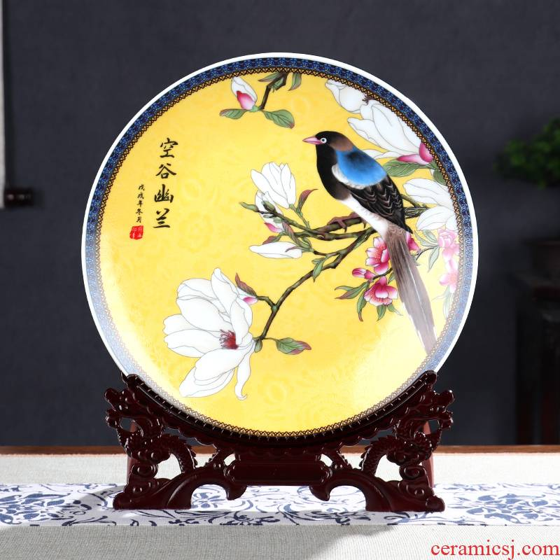 New ceramic decoration plate painting of flowers and rich ancient frame wine cabinet office furnishing articles household living room New Chinese arts and crafts