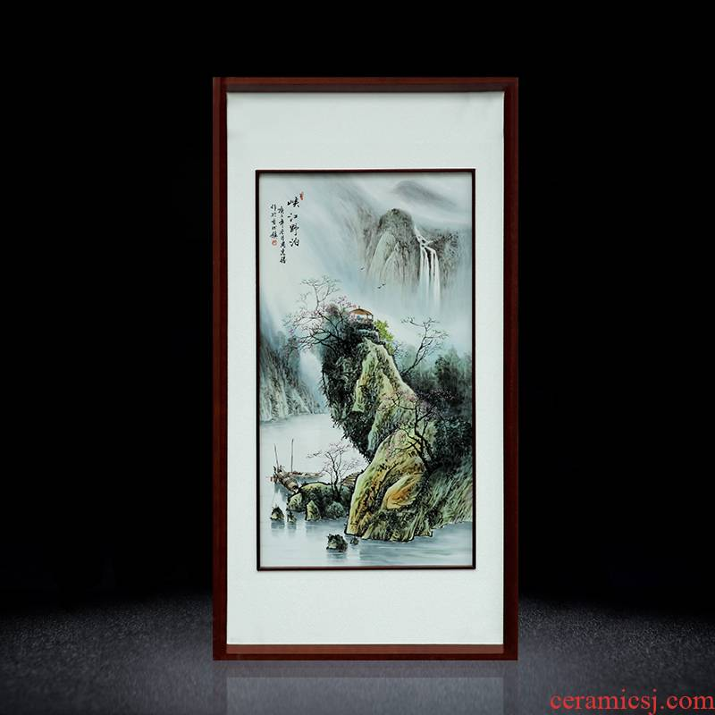 Jingdezhen hand - made scenery scenery porcelain plate paintings of Chinese style study corridor solid wooden frame, hang a picture sitting room adornment