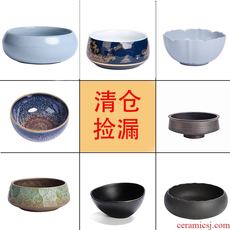 Heavy coarse pottery tea wash basin of water, after the large Chinese style household ceramic tea cup hot tea accessories wastewater cylinder washing