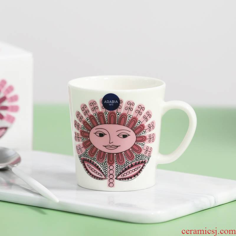 Finland matter pink daisies authentic Nordic ceramic afternoon tea cup keller cup coffee cups