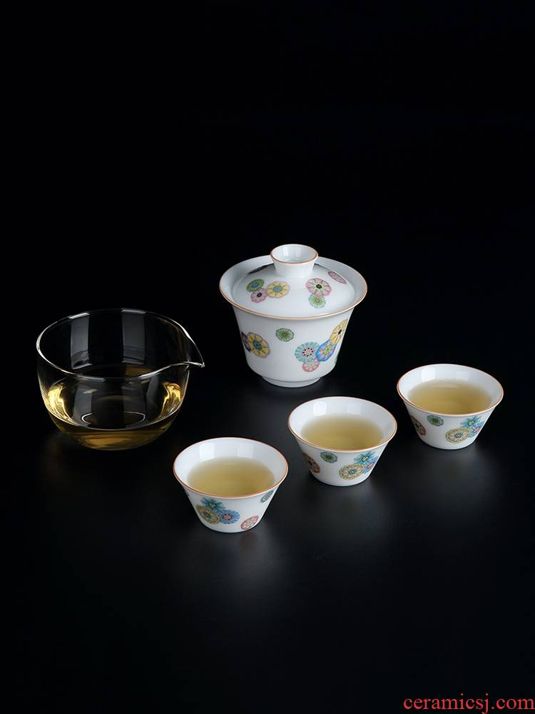 Portable travel kung fu tea set travel kit is suing the car line with ceramic tea tureen glass cups
