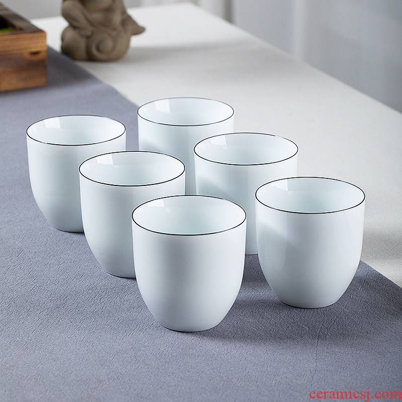 Hand - made kung fu tea six small masters cup ceramic sample tea cup high - grade not hot sweet white porcelain hat to CPU