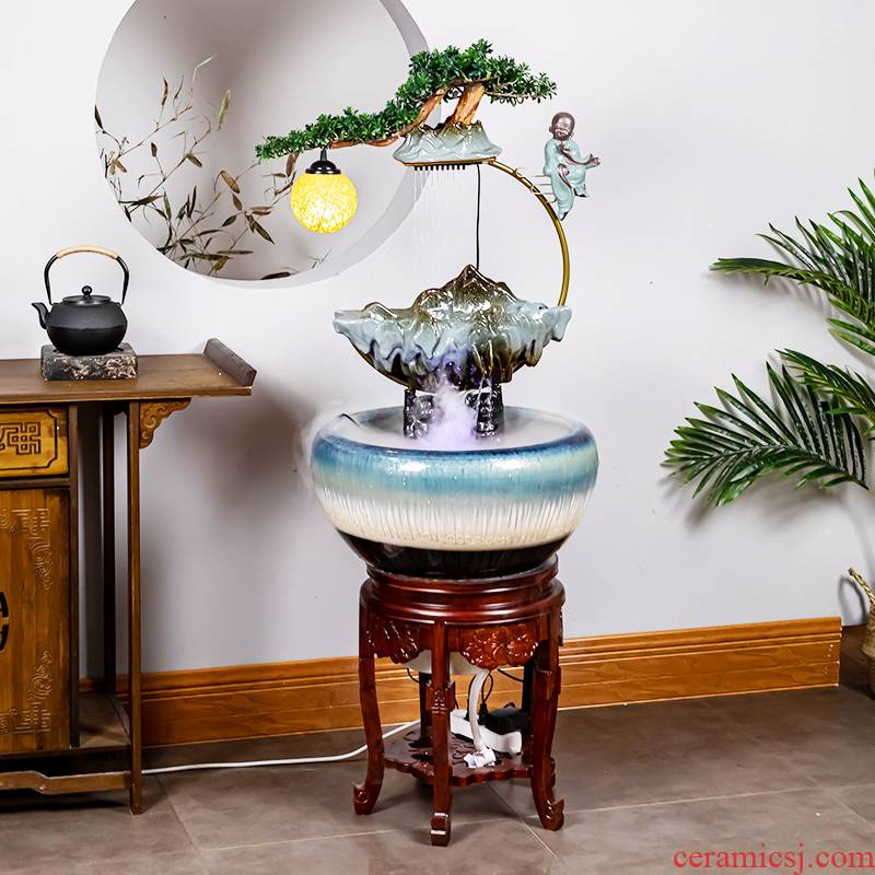 Cabinet ceramic up zen loose ground water fog a goldfish bowl sitting room porch jingdezhen ceramic cylinder fish bowl