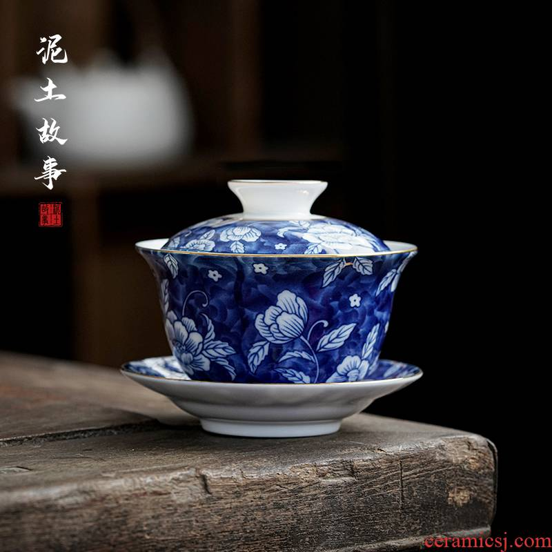 Hand made blue and white only three tureen single jingdezhen ceramic cups kung fu tea set is not a hot bowl