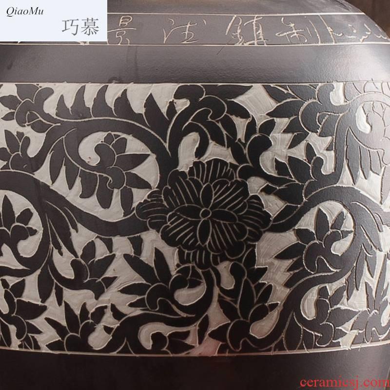 Qiao mu jar ceramic hip 10 jins of 50 pounds to seal the home wine wine wine bottle of liquor