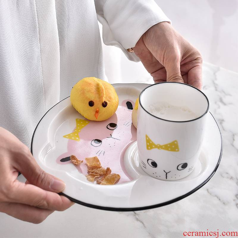 Meal plate super express cartoon irregular dish the baby to eat dish of ceramic plate household creative dinner plate