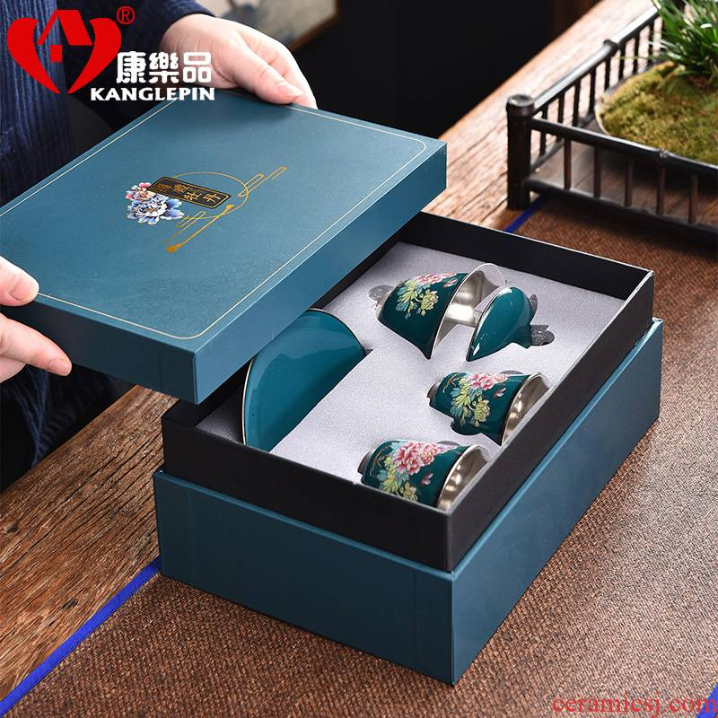 Recreational product high - grade ceramic coppering. As silver tea sets, 999 sterling silver tureen kung fu tea cup tea gift box