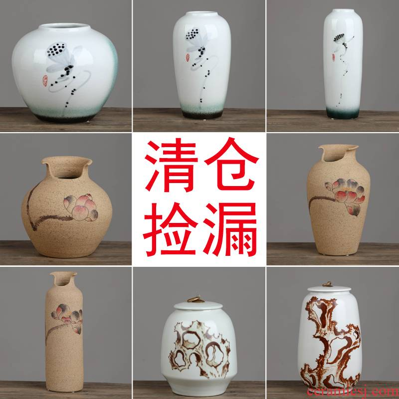 Jingdezhen ceramic vases, flower arranging clearance storage tank porch of new Chinese style household adornment handicraft furnishing articles