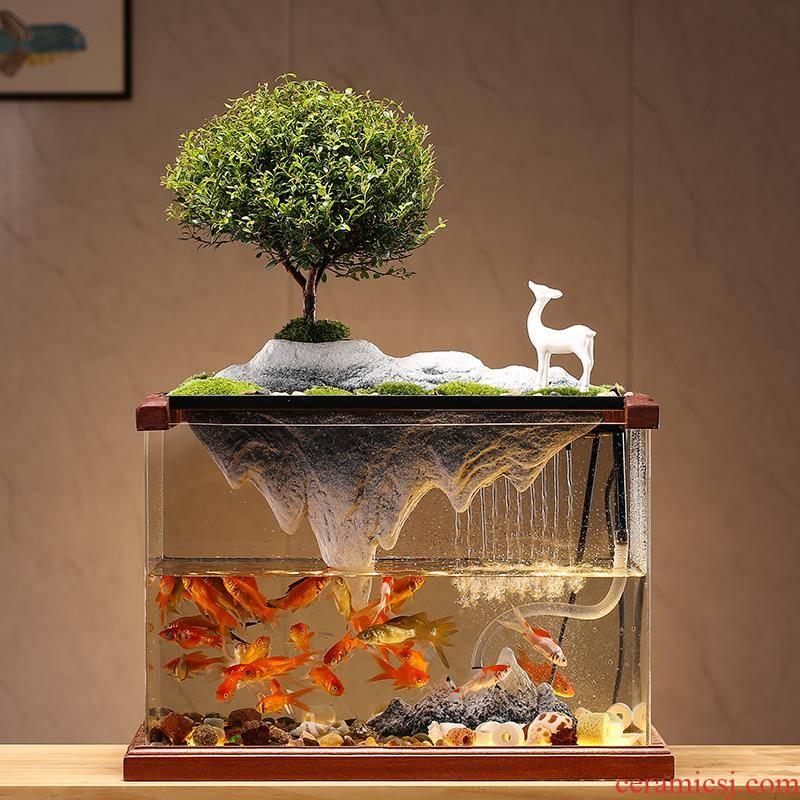 Circulating water tank decorated living room small household creative ceramics artificial rockwork aquarium desktop furnishing articles