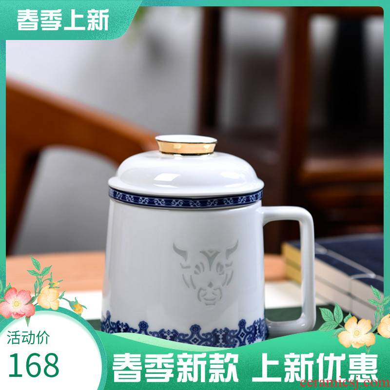 Jingdezhen blue and white jade BaiLingLong ceramics the year of the ox porcelain cup with cover large capacity filter office cup delicate custom