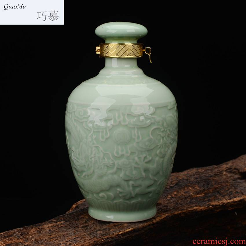 Qiao mu jingdezhen 2 jins with pea green idea gourd ssangyong ceramic bottle sealed jars home wine jugs