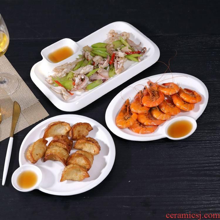 Dumplings dribbling vinegar dish of pure white ceramic plate household dish plate sushi plate creative dessert plate of fries, tableware