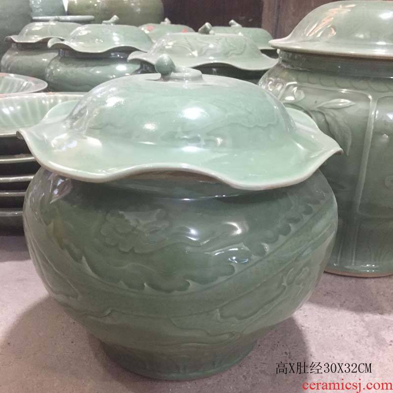 Jingdezhen pot archaize longquan porcelain lotus leaf pea green porcelain lotus leaf archaize the up chinaware lotus as cans