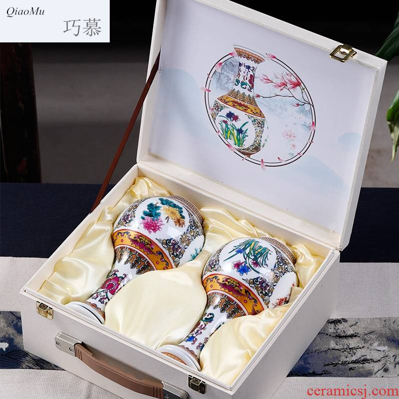 Qiao mu bottle jingdezhen ceramic nice bottle of archaize home seal hip creative decoration small jars