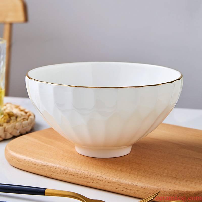 Eat rice bowls rainbow such use large soup bowl jingdezhen ceramic tableware pure white up phnom penh crystal bowl