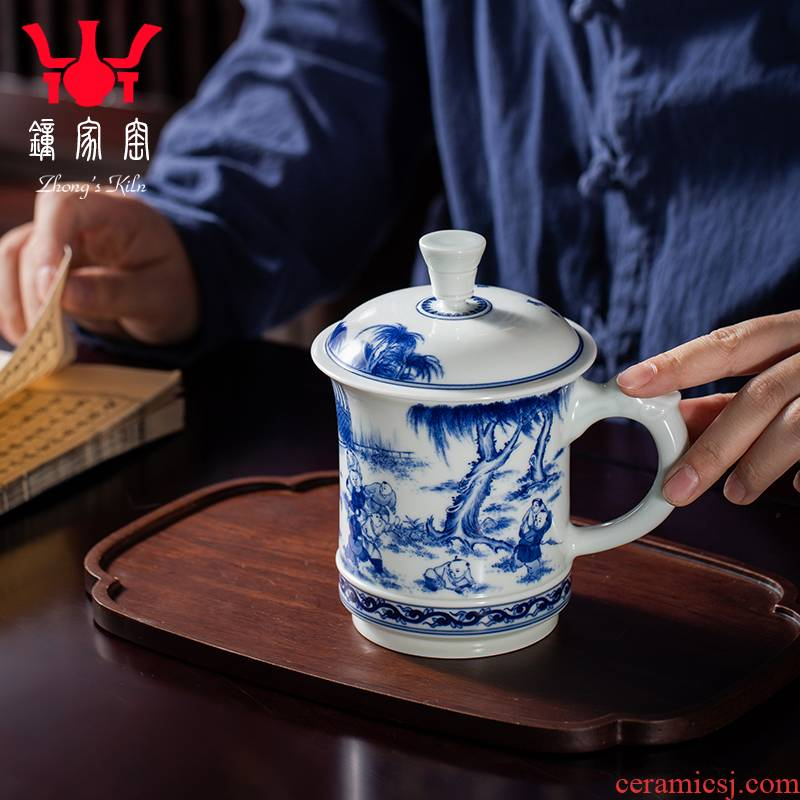 Clock home office cup all hand jingdezhen porcelain up of blue and white porcelain maintain the lad ceramic cup with cover large household