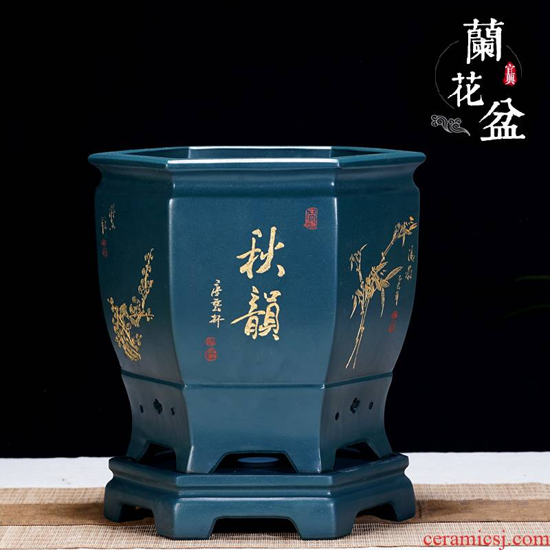 Yixing purple sand flowerpot hexagon clivia flower POTS for indoor household basin orchid ceramics with tray