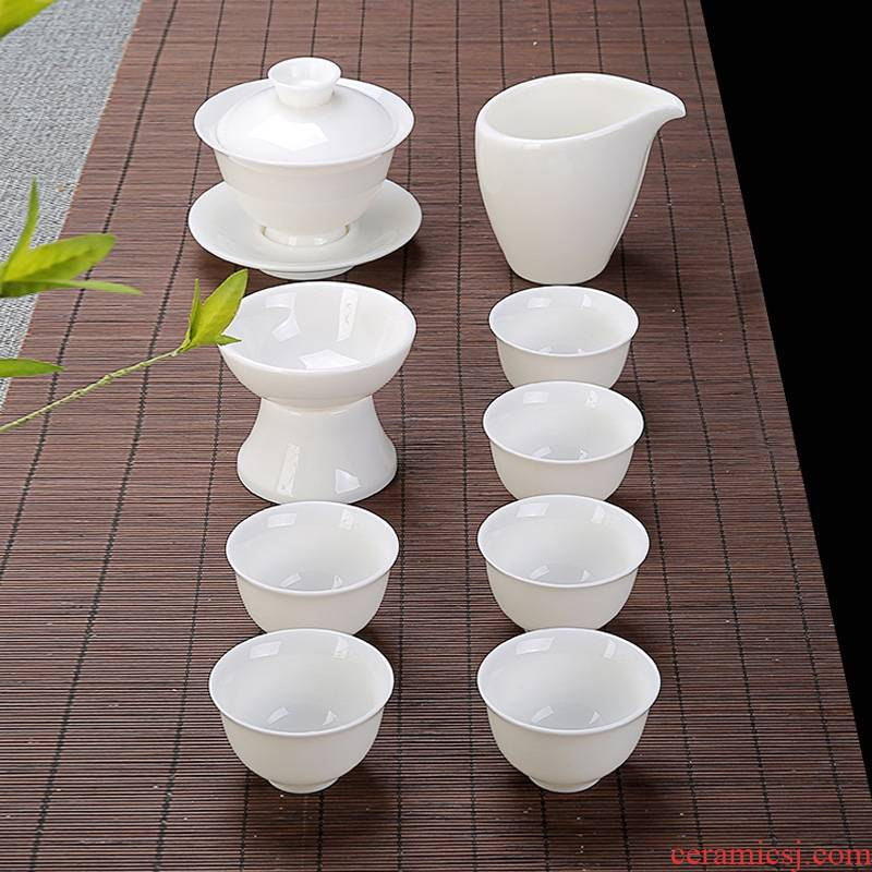 Qiao mu white porcelain kung fu tea set Japanese contracted white tureen the teapot tea cups of a complete set of household gift tea set