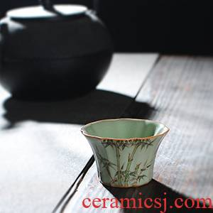 【 5.3 】 jingdezhen pure manual hand - made roundest bamboo cup under your up with glaze