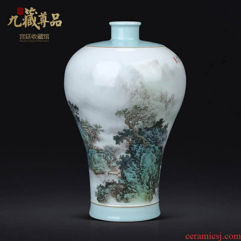 The Master of jingdezhen ceramic hand - made pastel landscape vase Chinese style living room TV ark, flower arranging porch is decorated furnishing articles
