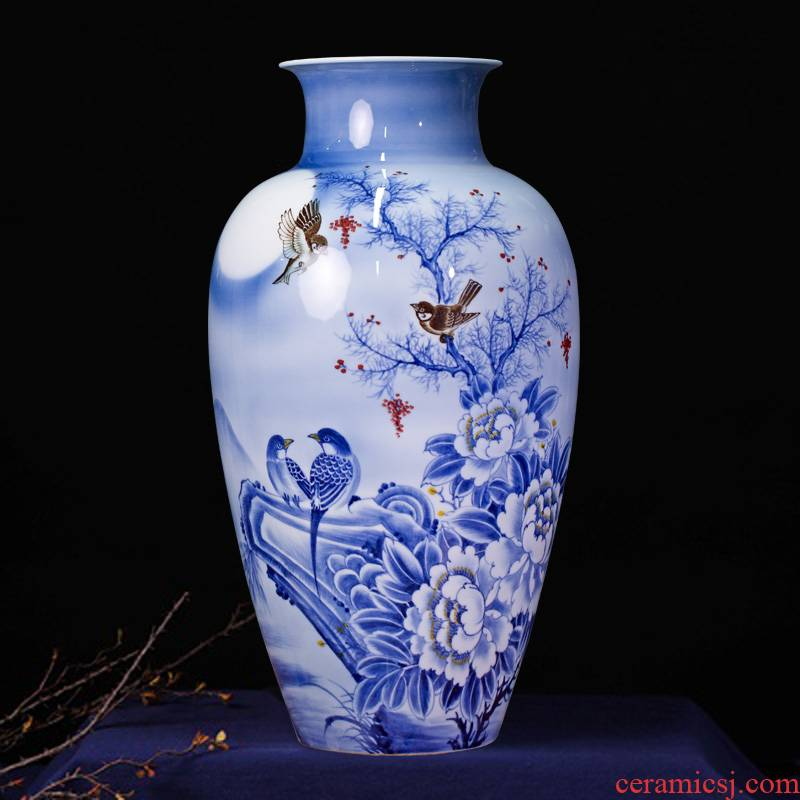 Jingdezhen ceramics masters hand - made flowers under the glaze painting of flowers and flower vase household porch mesa furnishing articles