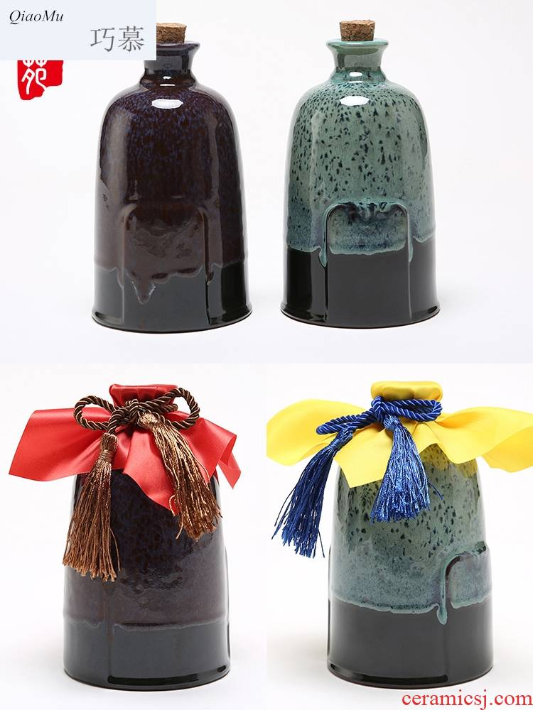 Qiao mu 1 kg bag in an empty bottle of liquor bottles mail ceramic flask store wine wine container seal earthenware