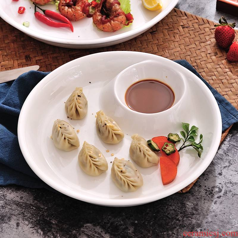 Creative ceramic plate household circular water dumplings have case with vinegar plate plate sushi plate hotel food dish