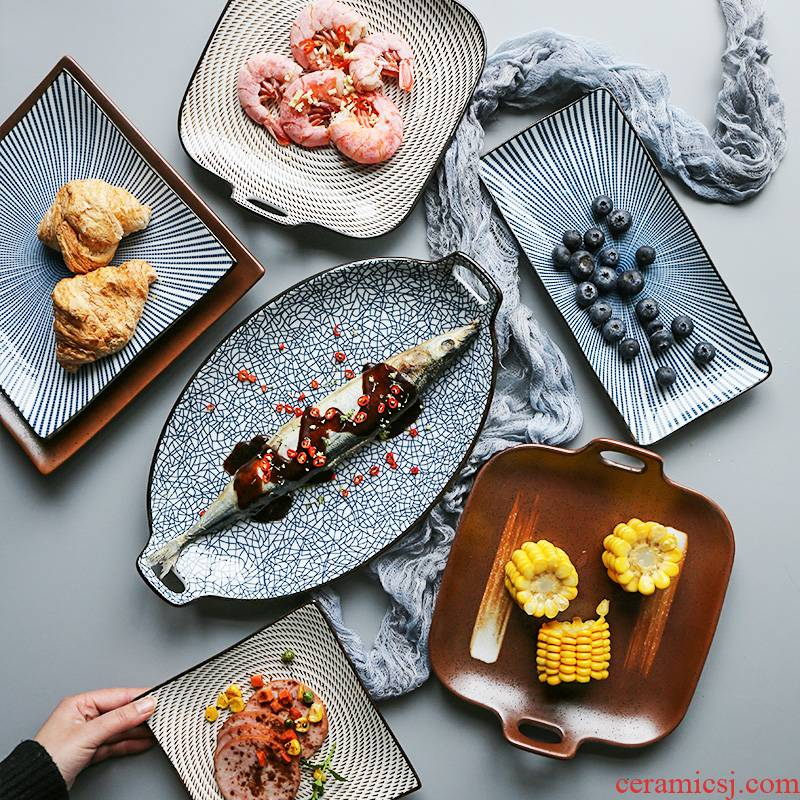 Japanese ceramics tableware feng ears fish dish plate, plate material sushi plate of dumplings plate steak plate