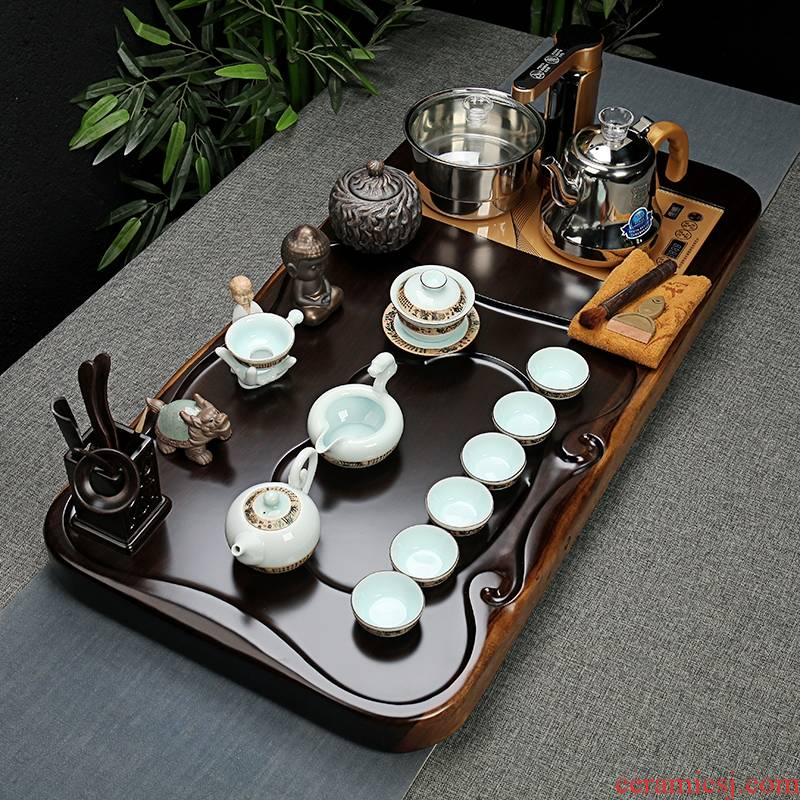 Qiao mu tea set ebony wood, ceramic purple sand tea tray was kung fu tea set of a complete set of full automatic quick furnace