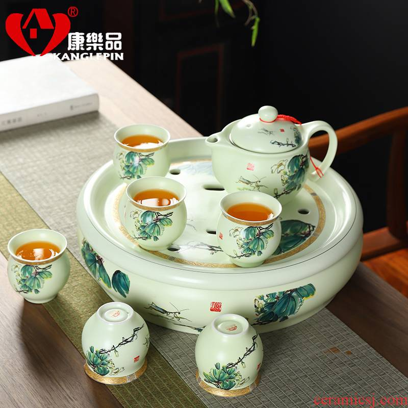 Recreational product ceramic tea set home tasted silver gilding double anti hot high - grade tea is tea tray of a complete set of kung fu tea cups