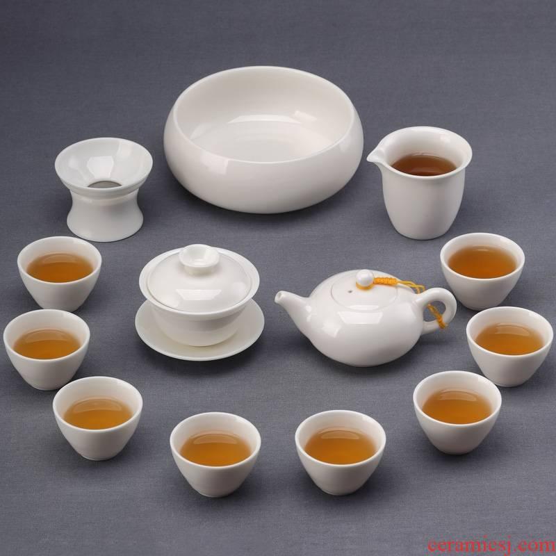Qiao mu suet jade porcelain kung fu tea set dehua white porcelain tea teapot teacup home sitting room of a complete set of 6