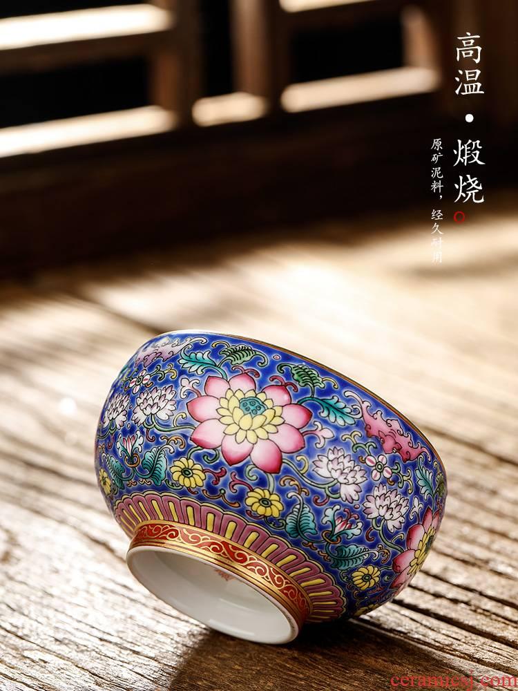 Jingdezhen pure manual colored enamel kung fu tea master cup single CPU hand - made flower cup sample tea cup single women