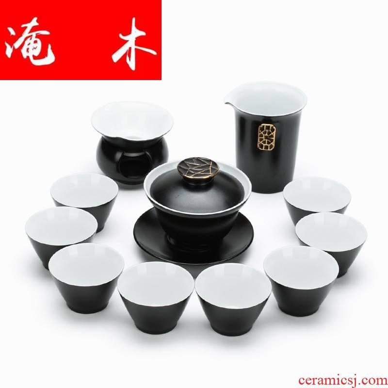 Flooded wooden Japanese contracted ceramic tureen tea color glaze tureen kung fu tea set gift set logo