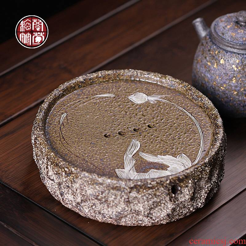 Rock ore old clay pot bearing dry mercifully machine of Chinese style restoring ancient ways round ceramic water trays kung fu tea set spare parts