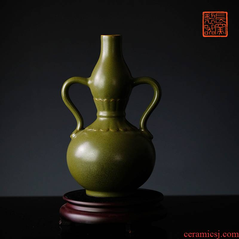 Long up in making those offered home - cooked meal glaze ribbon ear gourd bottle home furnishing articles at the end of the jingdezhen checking retro floral outraged