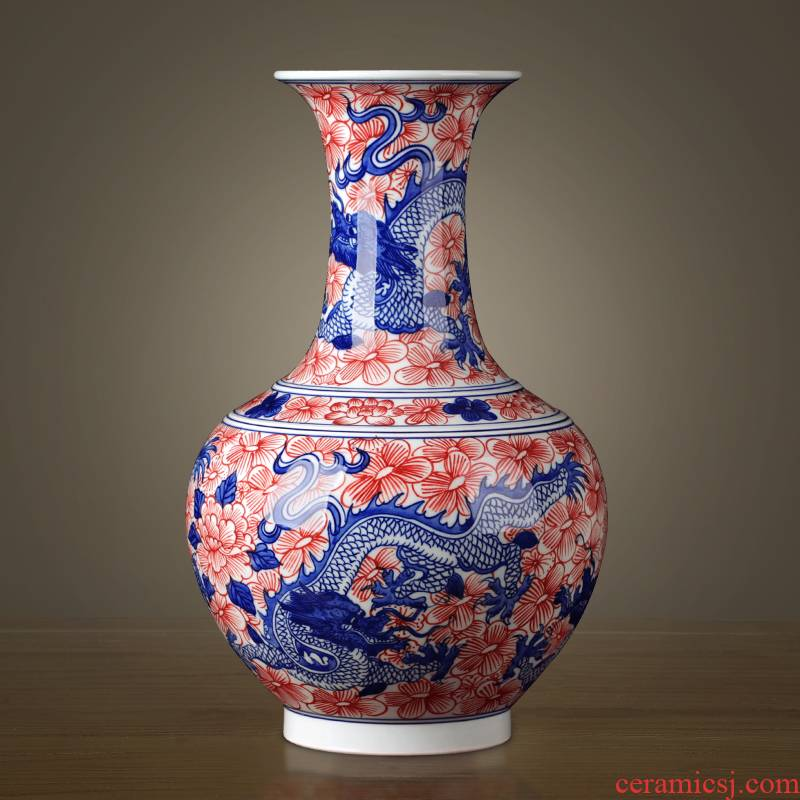 Jingdezhen ceramics glaze color antique hand - made under the blue and white porcelain vases, modern classical Chinese style household act the role ofing is tasted furnishing articles