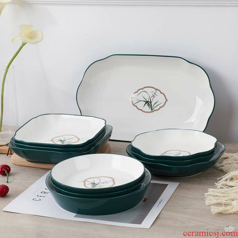 Chinese dishes ceramics FanPan plant flowers, Chinese wind adult glaze four new Chinese style tableware good - & fish dish