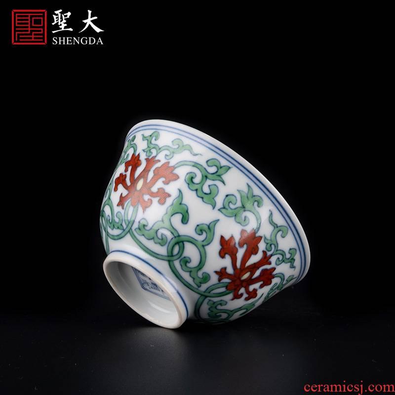 Holy big porcelain doucai bucket colors branch derived lines master cup jingdezhen high - grade tea kungfu tea cups