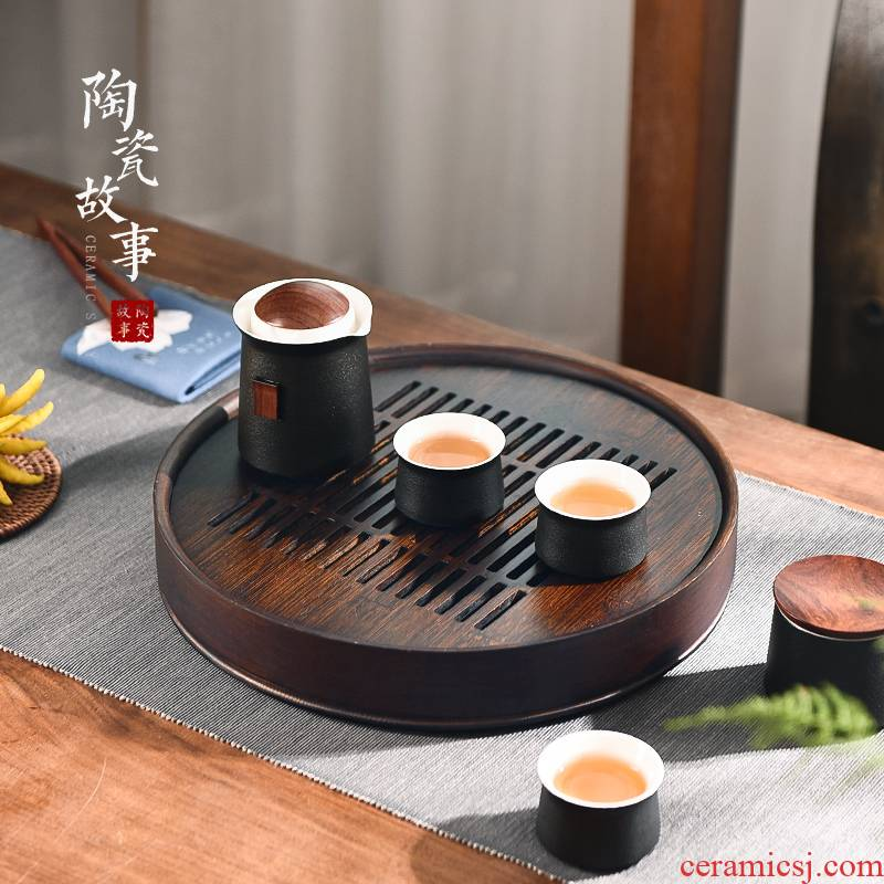 The Story of pottery and porcelain tea tray of household solid wood tea light small key-2 luxury modern kung fu tea set waterlogging under caused by excessive rainfall water tea tray