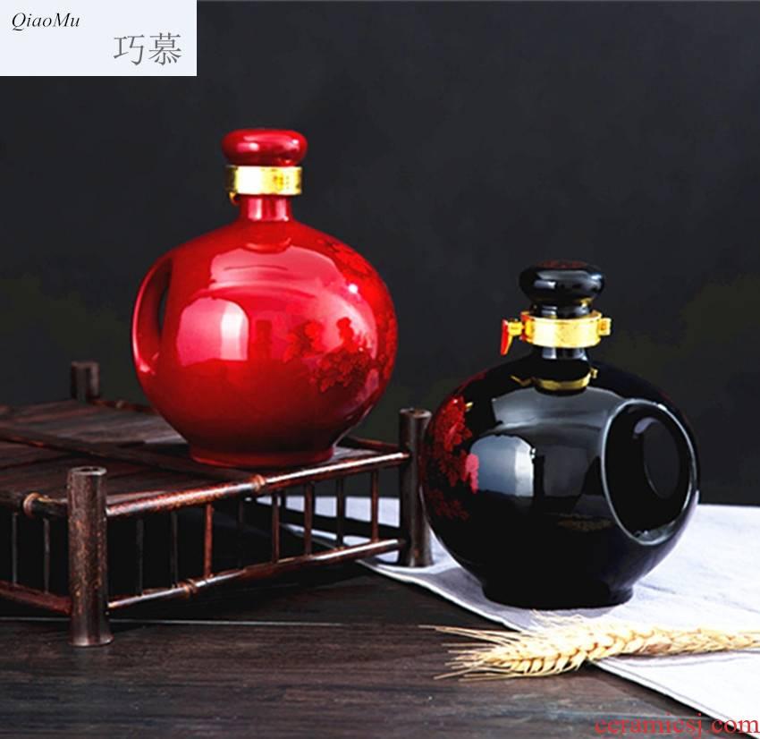 Qiao mu jingdezhen 2 jins of red and black crystal glaze peony ceramic bottle grape wine decorative bottle seal
