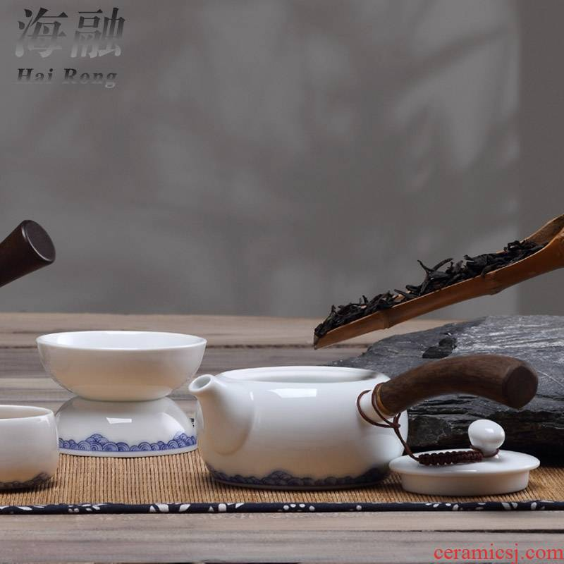 Qiao mu creative side teapot teacup tea household contracted style office ceramic bowl kung fu tea set