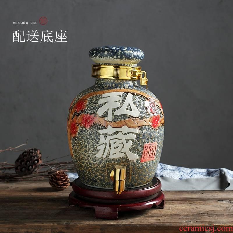 Qiao mu jingdezhen ceramic jar liquor hip archaize 30 jins seal wine jars of empty wine bottles of household
