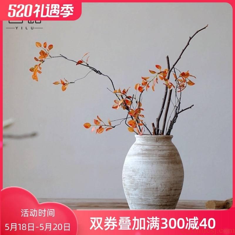 Literary retro manual coarse TaoHua device wabi-sabi clay earthenware dried flower vase hand made Japanese teahouse zen flowerpot