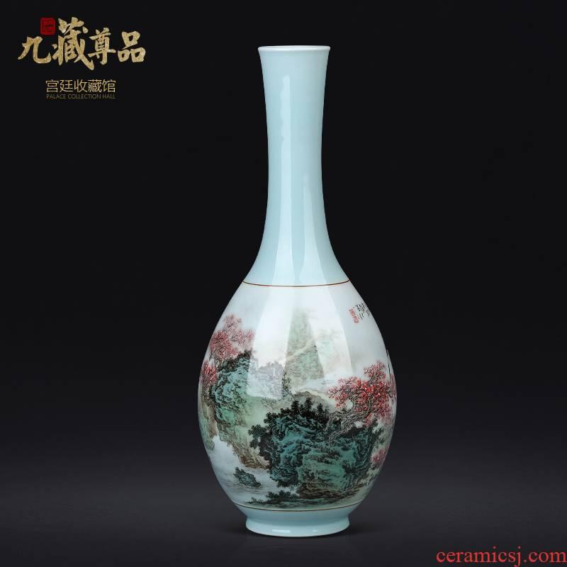 Jingdezhen ceramic celadon hand - made pastel landscape Chinese sitting room porch antique vase TV ark adornment furnishing articles