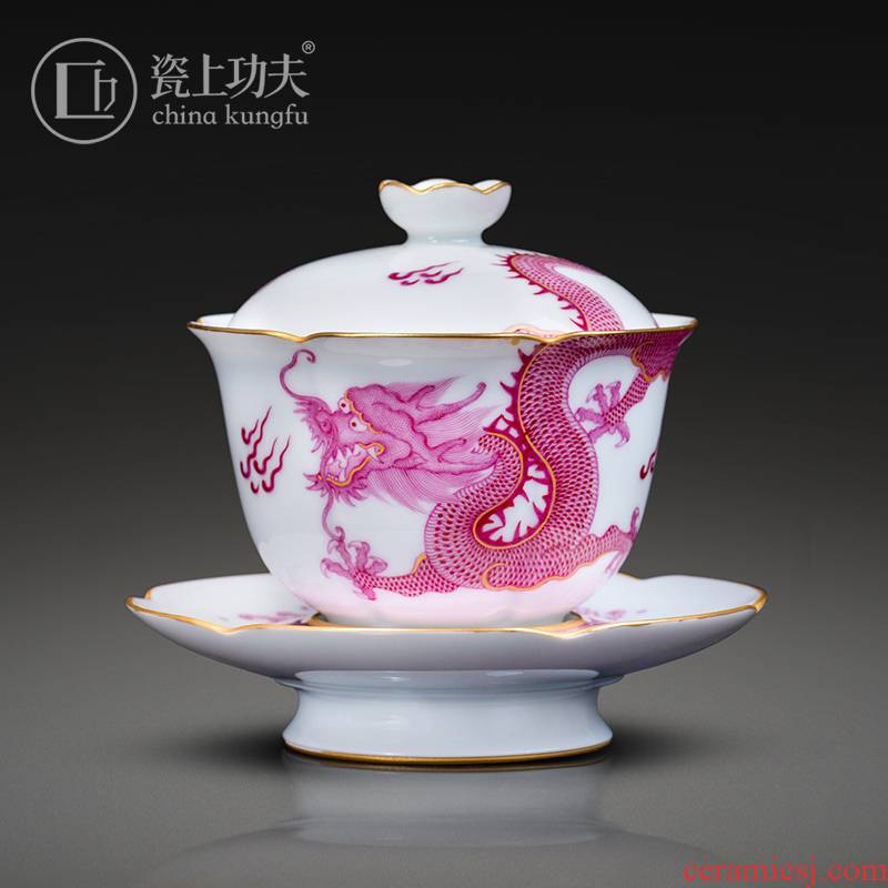 Manual hand - made porcelain on kung fu from the three tureen jingdezhen ceramic cups only single not hot tea bowl