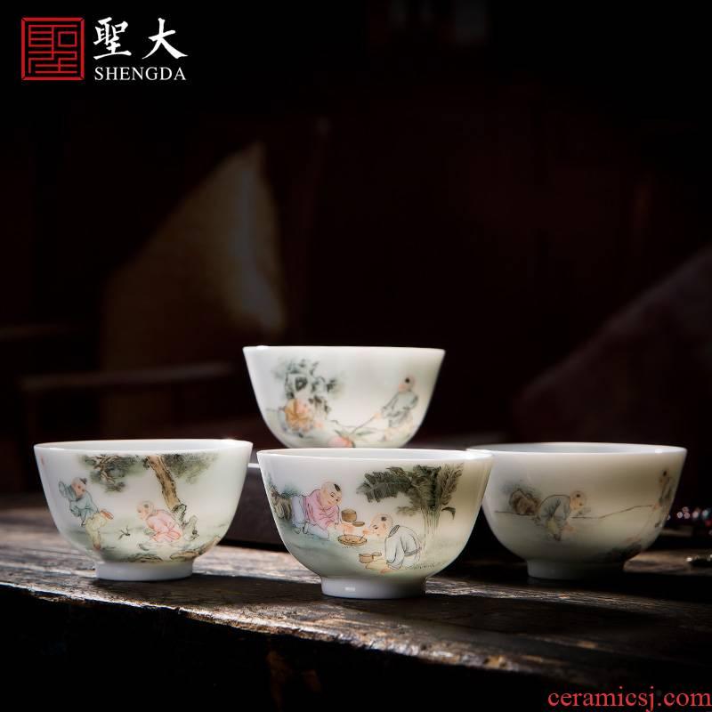 St the ceramic kung fu tea master cup hand - made new boy tong qu sample tea cup set of glasses of jingdezhen tea service
