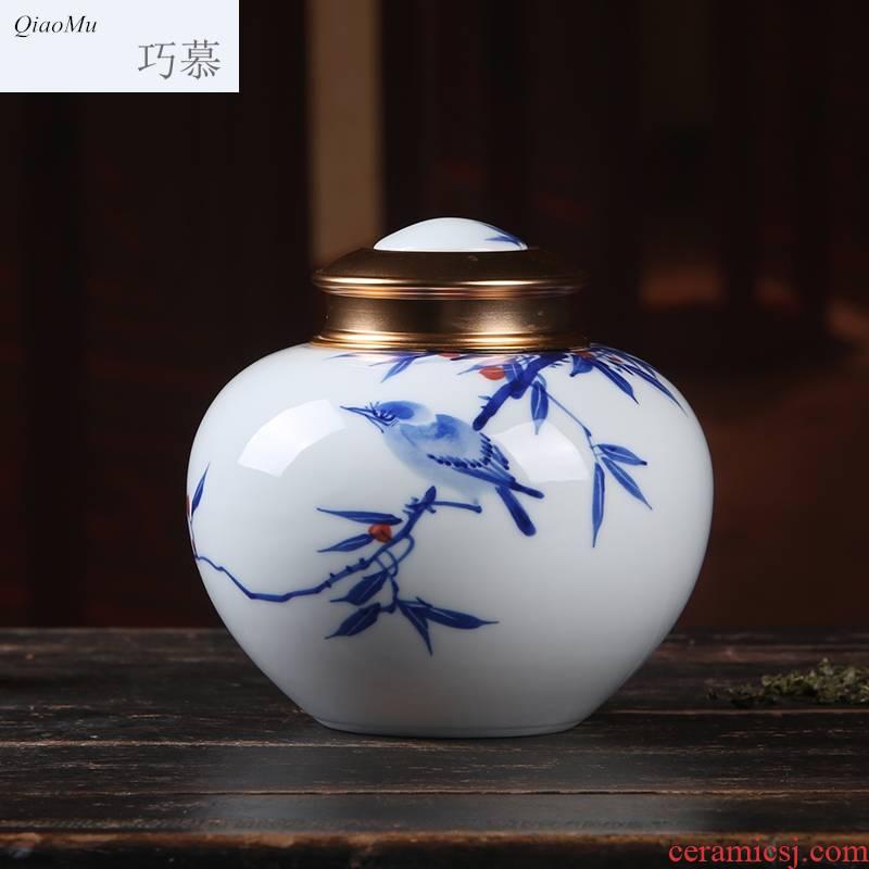 Qiao mu seal caddy fixings pure hand - made porcelain of jingdezhen ceramic half jins of puer tea, green tea store receives the gift