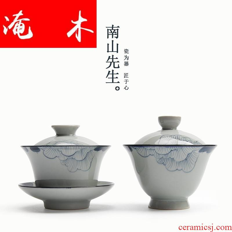 Submerged wood | hand - made lotus blue and white tea cup tureen archaize ceramic tea set three bowl of tea by hand to use