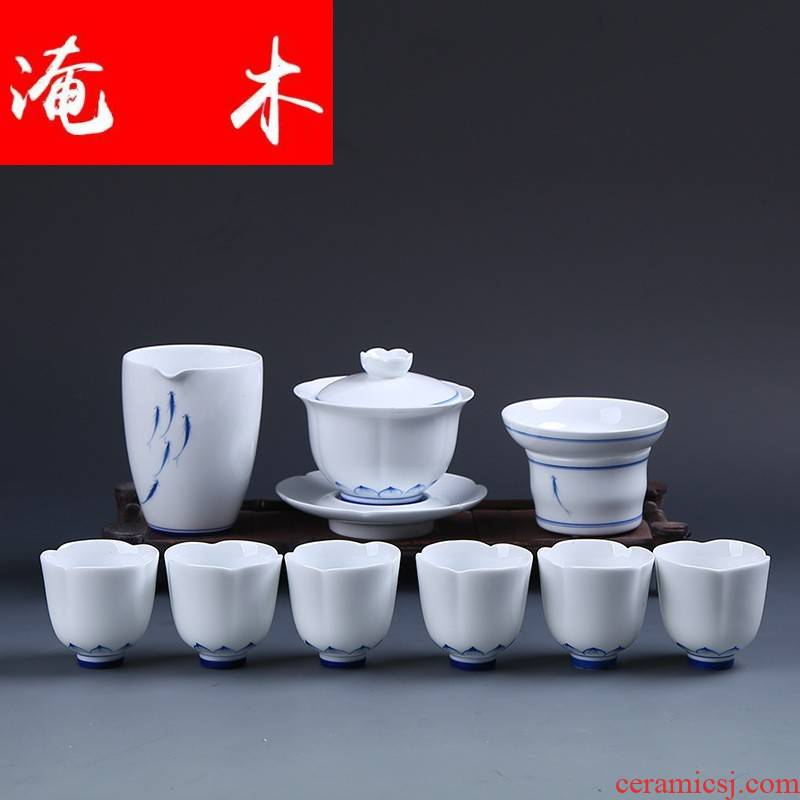 Submerged wood jingdezhen blue and white porcelain tureen hand - drawn kung fu tea set ceramic cups of a complete set of business gifts