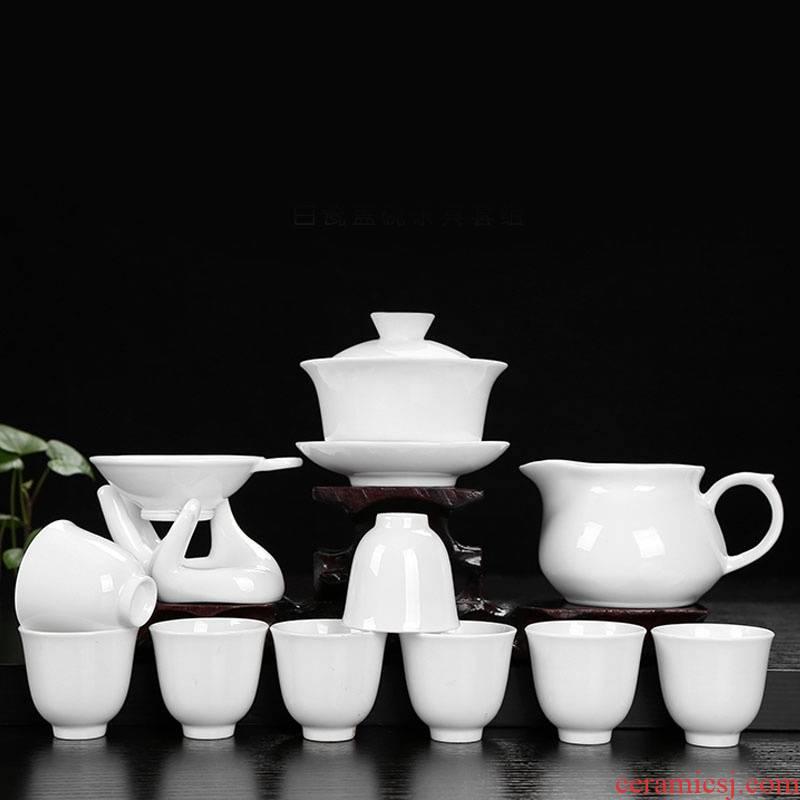 Pure white porcelain kung fu tea tureen tea cups gift set LOGO custom gift company souvenir shop activities